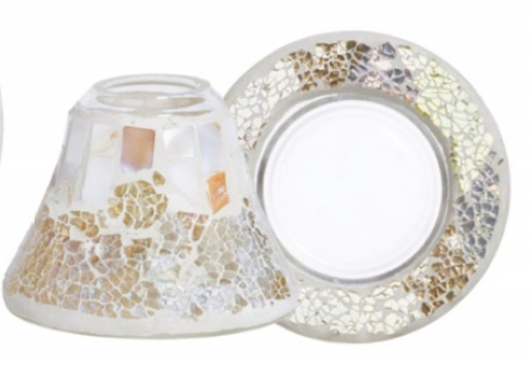 Yankee Candle «Gold & Pearl Crackle» kleiner Schirm & Tablet