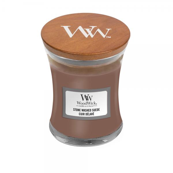 WoodWick «Cuir délavé» Bougie Parfumée mini