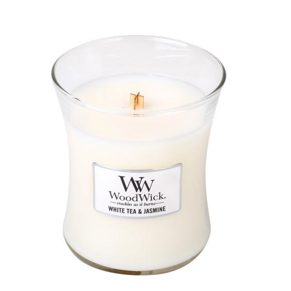 WoodWick Duftkerze «White Tea & Jasmin» mittel