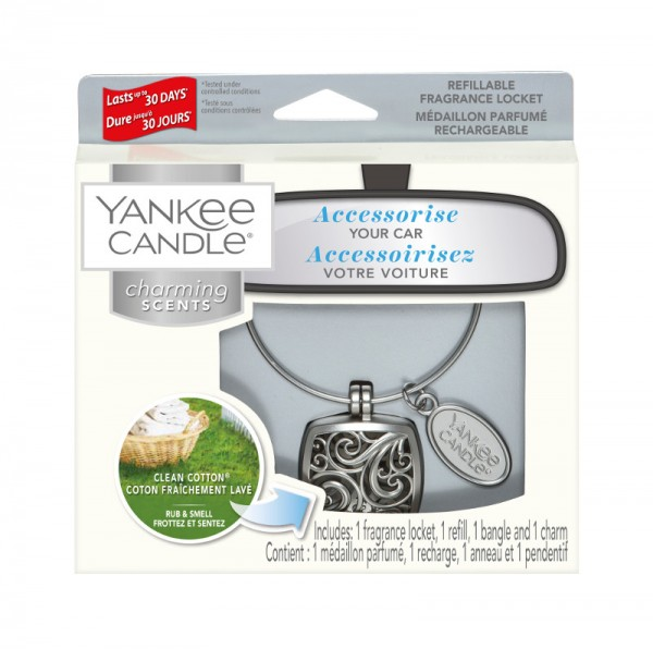 Yankee Candle Autoduft «Clean Cotton Square» Charming Scents, Starter Kit