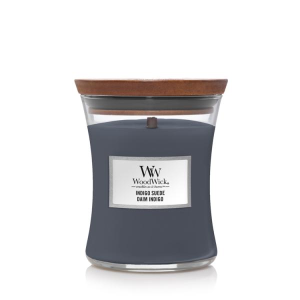 WoodWick «Daim Indigo» Bougie Parfumée moyenne