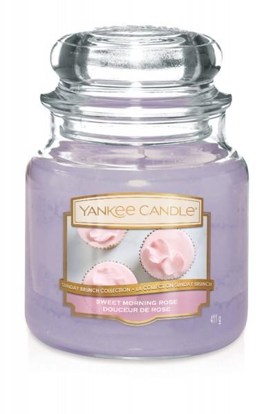 Yankee Candle Duftkerze «Sweet Morning Rose» mittel (medium Jar 411g)