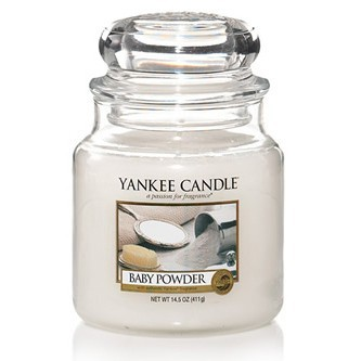 Yankee Candle Duftkerze «Baby Powder» mittel (medium Jar 411g)