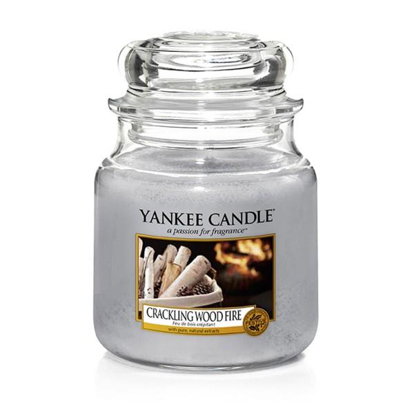 Yankee Candle Duftkerze «Crackling Wood Fire» mittel (medium Jar 411g)