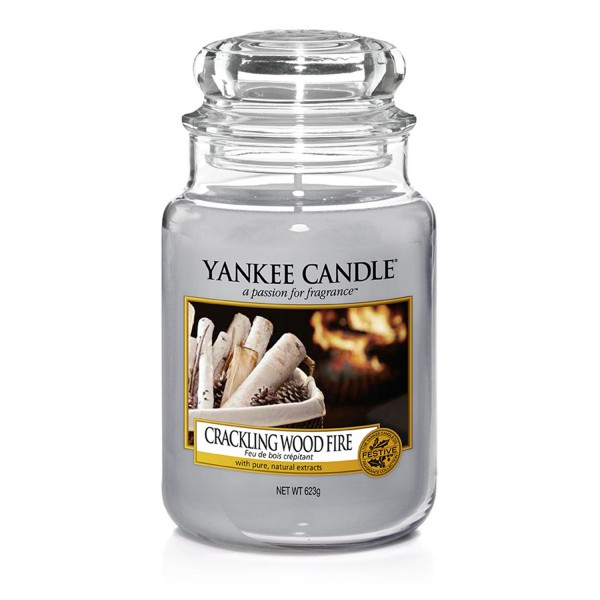 Yankee Candle Duftkerze «Crackling Wood Fire» gross (large Jar 623g)