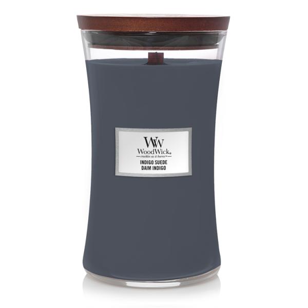 WoodWick «Daim Indigo» Bougie Parfumée grande