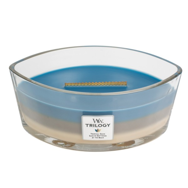 Woodwick «Escapade nautique» Bougie Parfumée Ellipse (large 454g)