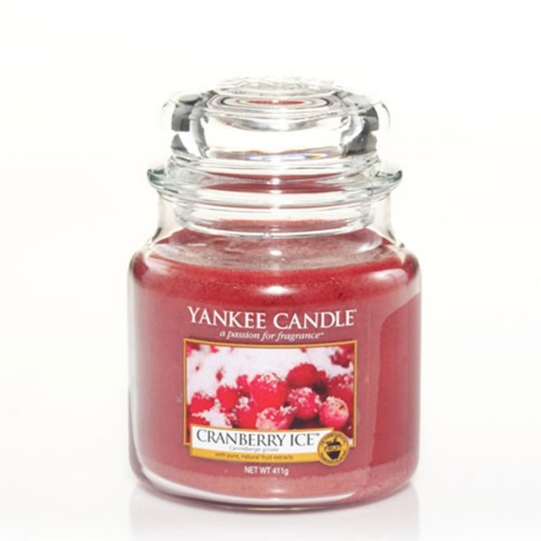 Yankee Candle Duftkerze «Cranberry Ice» mittel (medium Jar 411g)