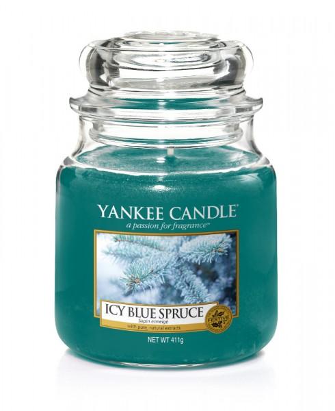 Yankee Candle Duftkerze «Icy Blue Spruce» mittel (medium Jar 411g)