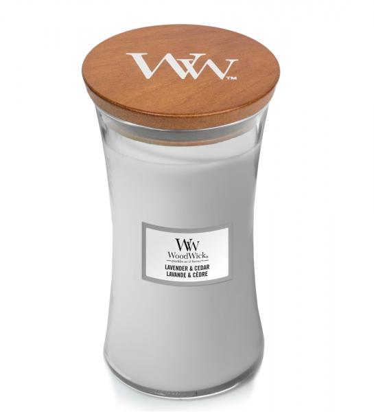 WoodWick Duftkerze «Lavender & Cedar» gross