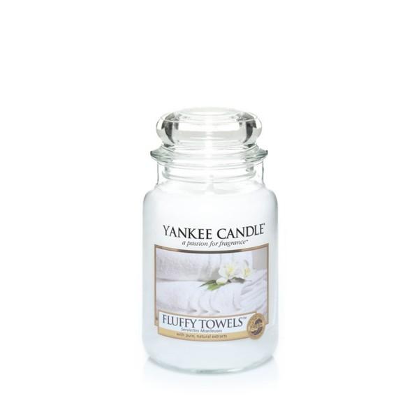 Yankee Candle Duftkerze «Fluffy Towels » mittel (medium Jar 411g)