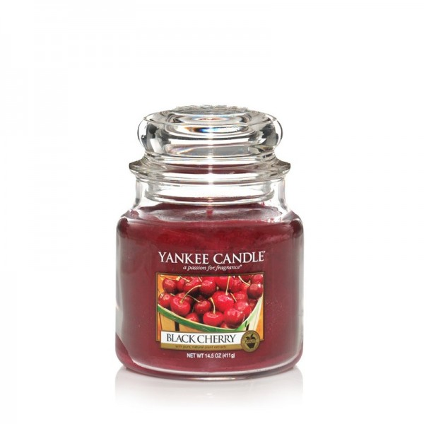Yankee Candle Duftkerze «Black Cherry» mittel (medium Jar 411g)
