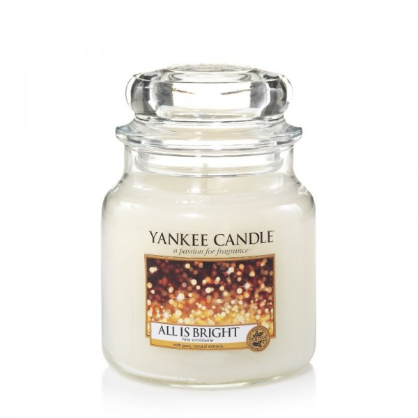 Yankee Candle Duftkerze «All is Bright» mittel (medium Jar 411g)