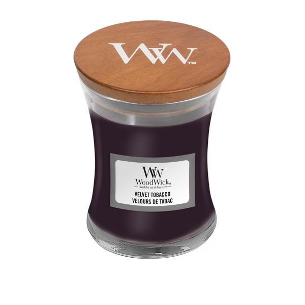 WoodWick Duftkerze «Velvet Tobacco» mini