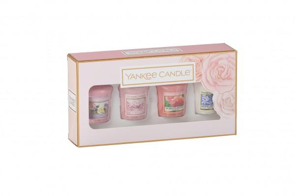 Yankee Candle Geschenkset Rosenblüten mit 4 Votivkerzen