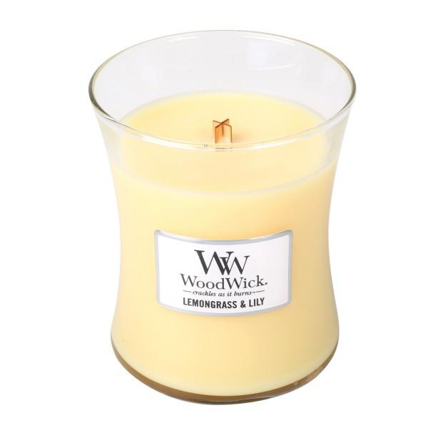 Woodwick «Citronnelle & lys» Bougie Parfumée Moyenne