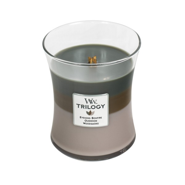 Woodwick Duftkerze Trilogy  «Cozy Cabin» mittel (medium Jar 283g)