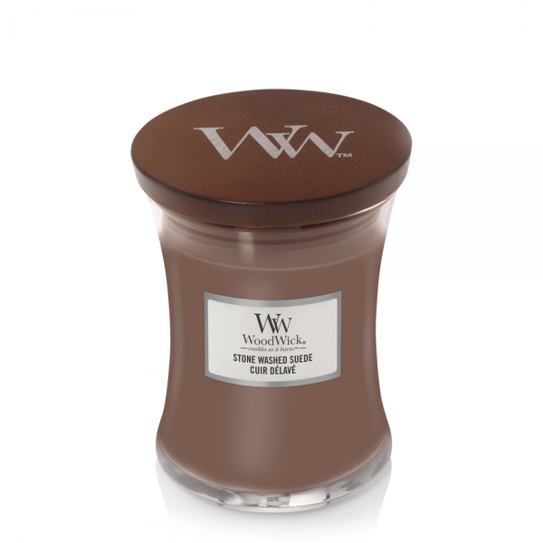 WoodWick «Cuir délavé» Bougie Parfumée moyenne