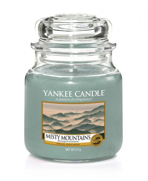 Yankee Candle Duftkerze «Misty Mountains» mittel (medium Jar 411g)