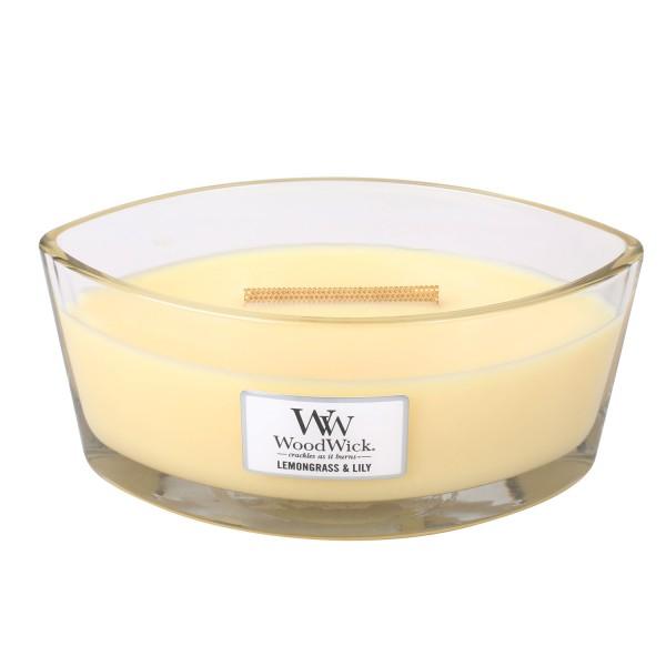 WoodWick Duftkerze «Lemongrass & Lily» Ellipse