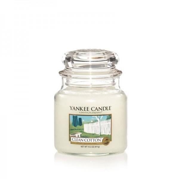 Yankee Candle Duftkerze «Clean Cotton» mittel (medium Jar 411g)